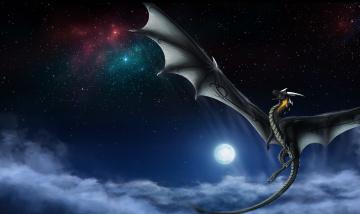 Картинка фэнтези драконы ночь небо звезды облака полет хвост крылья луна