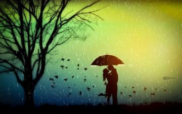 обоя векторная графика, люди , people, влюбленные, осень, зонт, романтика, любовь, дерево, настроение, листья, дождь