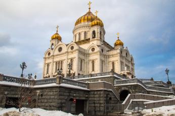 обоя cathedral of christ a savior, города, москва , россия, храм