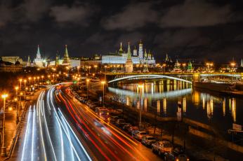 обоя города, москва , россия, ночь, огни