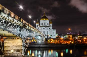 обоя города, москва , россия, огни, ночь