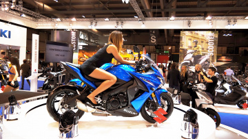 обоя girls and moto 3, мотоциклы, мото с девушкой, girl, moto, синий