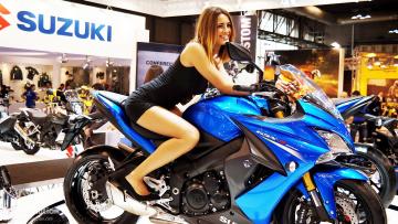 обоя girls and moto 4, мотоциклы, мото с девушкой, moto, girl, синий