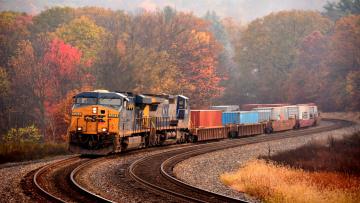 обоя техника, поезда, поезд, поворот, роща, осень, железная, дорога, грузовой