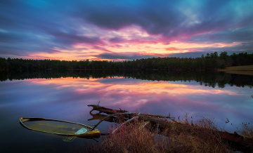 обоя корабли, лодки,  шлюпки, лодка, озеро, гилфорд, закат, салтмарш-пруд