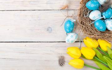 обоя праздничные, пасха, decoration, wood, easter, тюльпаны, tulips, tender, yellow, happy, spring, eggs