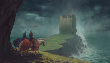 Картинка фэнтези люди утес рыцари доспехи лошади замок