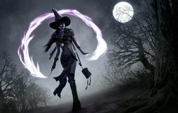 обоя фэнтези, маги,  волшебники, ночь, колдунья, луна, магия, ведьма, полная, девушка