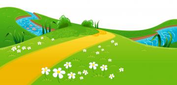 обоя векторная графика, природа , nature, цветы, река, луг