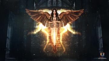 обоя фэнтези, ангелы, брюнетка, меч, ангел, крылья, оружие, фентези, девушка