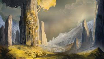 обоя фэнтези, пейзажи, часы, manu, micheler, древо, арт, фентези, горы
