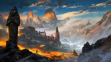 обоя фэнтези, пейзажи, фентези, горы, ling, xiang, арт