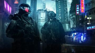 обоя фэнтези, роботы,  киборги,  механизмы, солдаты, фантастика, вечер, улица, оружие, город