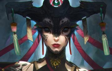 обоя фэнтези, существа, tony, yin, арт, взгляд, существо, женщина, фантастика