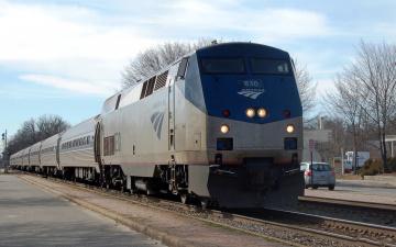 Картинка amtrak техника поезда пассажирский состав полустанок рельсы