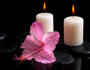 Картинка разное свечи гибискус цветок спа камни капли вода