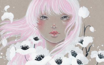 Картинка рисованное люди волосы цветы девушка art victoria-rivero