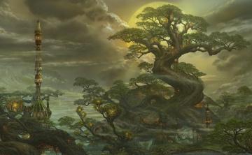 обоя фэнтези, пейзажи, деревья, пейзаж