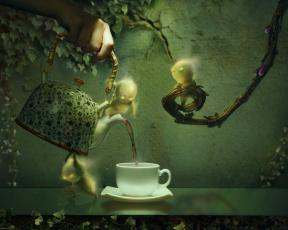 обоя фэнтези, фотоарт, плющ, листья, чашка, чайник, чаепитие, рука, графика, ветки, человечки