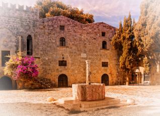обоя греция, города, - здания,  дома, деревья, цветы