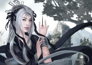 обоя фэнтези, девушки, арт, горы, азия, татуировка, белые, волосы, девушка, нож, украшения, рука