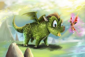 обоя фэнтези, драконы, бабочка, фея, камни