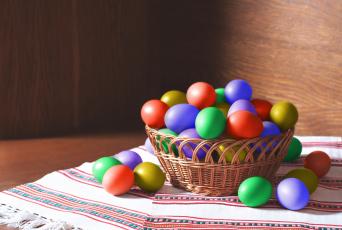 Картинка праздничные пасха крашенки праздник рушники корзинка
