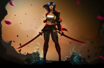 обоя фэнтези, девушки, взгляд, фон, девушка, меч