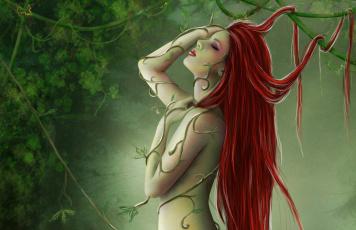 обоя фэнтези, девушки, эротические, широкоформатные, рисунки, природа, лес