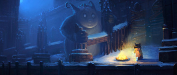 обоя фэнтези, существа, снег, девочка, зима, костер, одиночество, холод, заброшенность, ночь, руины, замок, монстр, арт, ребенок