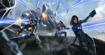 обоя фэнтези, роботы,  киборги,  механизмы, битва, униформа, мужчина, девушка, фон