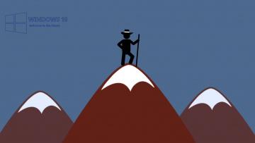 обоя компьютеры, windows  10, человек, горы, шляпа