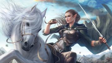 обоя фэнтези, эльфы, девушка, конь, воин, эльфийка