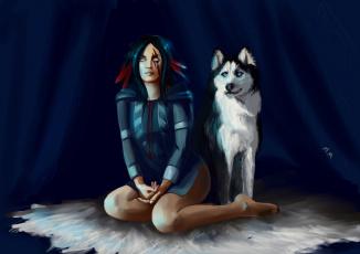 Картинка фэнтези девушки девушка собака индианка слепая