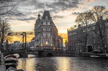 обоя amsterdam, города, амстердам , нидерланды, канал
