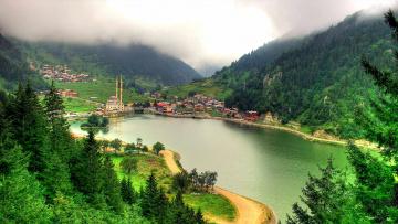 обоя города, - пейзажи, город, дома, горы, море, турция, трабзон, минарет, мечеть
