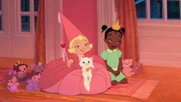 обоя мультфильмы, the princess and the frog, девочки, кошка, игрушки, платье