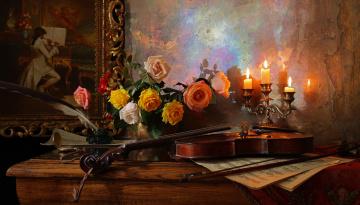 обоя музыка, -музыкальные инструменты, still, life, скрипка, столик, розы, ваза, свечи, картина, андрей, морозов, andrey, morozov, чернильница, перо, ноты, цветы