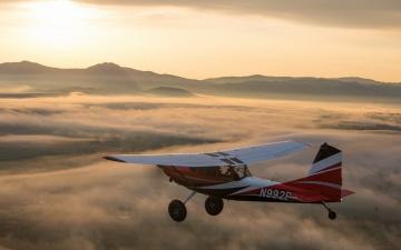 обоя авиация, лёгкие одномоторные самолёты, небо, утро, самолёт