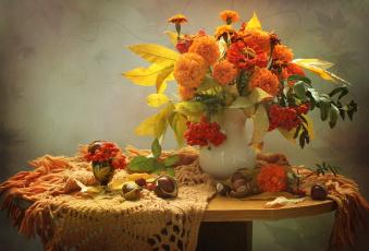 обоя цветы, букеты,  композиции, осень, рябина, бархатцы, каштаны