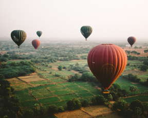 обоя авиация, воздушные шары, земля, небо, воздушные, шары
