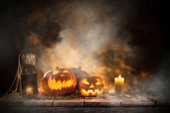 обоя праздничные, хэллоуин, тыквы, праздник, свечи, хэлуин