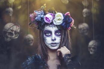 обоя разное, маски,  карнавальные костюмы, черепа, девушка, kobi, alony, венок, грим, day, of, the, dead