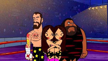 обоя мультфильмы, the flintstones, объятие, ринг, тату, женщина, мужчина
