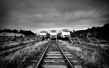 обоя техника, поезда, рельсы, пути, железная, дорога, шпалы, тупик