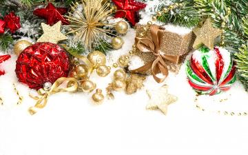 Картинка праздничные украшения xmas christmas снег шары новый год рождество decoration merry