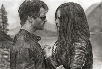 обоя рисованное, кино, девушка, мужчина, очки