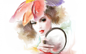 Картинка рисованное люди рука волосы кудри взгляд лицо девушка tatiana nikitina зеркало любование