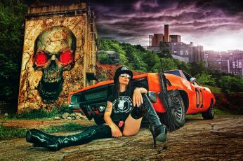 обоя автомобили, -авто с девушками, автомат, череп, граффити