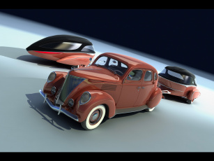 Картинка retro caravan of bo zolland 1940 ford автомобили 3д